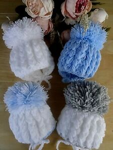 Hand Knitted Baby Boy Girl White Blue Grey Crochet Pom-Pom Hat Ties NB-0-3-6m