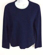 Tory Burch Women's Blouse Shirt Top Sz M Embroidery LS Navy Blue NEW #9431 ($395