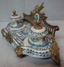 Art Deco Style Inkwell Writing case Office Art Nouveau Style Porcelain Bronze