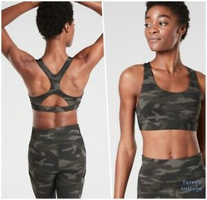ATHLETA S Ultimate Camo Printed A-C Sports Bra SMALL Olive | Running Workout Top