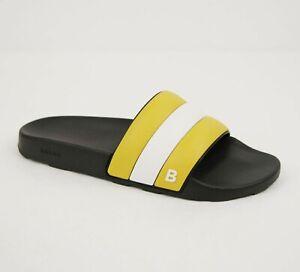 Bally Men's Black Rubber Slide Sandals with Yellow/White Web Detail Sleter