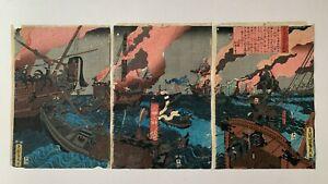 Sadahide - triptych - Japanese Woodblock Prints - Ukiyo-e