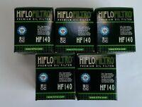 Yamaha WR250F / WR250R / WR250X (2009 to 2018) HifloFiltro Oil Filter (HF140) x5