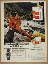 1974 Bulova Sea Hunter Watch Offer kayaker Raleigh Cigarettes vintage print Ad