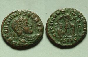 Rare genuine Ancient Roman coin Gratian 379 AD Captive standard Chi-rho labarum
