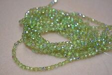 Czech Fire Polished 3mm round faceted glass beads - Olivine AB
