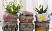 Mediterranean style Ceramics Bonsai Flower Pot Round For Succulent Plants Decor