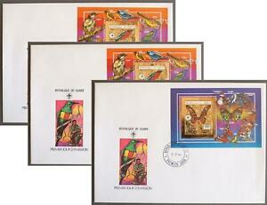GUINEA 1990 BIRDS, Butterfly, Scouting, Lovely GOLD Sheets on FDC Cover, Insects