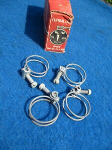 """Vintage Wire Band Screw 1"""" Hose Clamps NOS Original 4 Made in Chicago"""