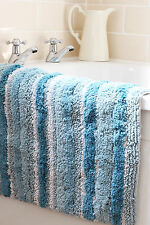 TEAL STRIPE 100% SOFT 2000 GSM CHUNKY COTTON HEAVY  RUG / BATH MAT 50cm x 80cm