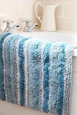 Turquoise à rayures 100% soft 2000 gsm grosses coton lourd tapis/tapis de bain 50cm x 80cm