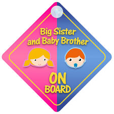 Big Sister And Baby Brother On Board Car Sign New Baby/Child Gift/Present