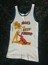 Rare Vintage 1950s Pin up Nude Girl Dog Surf T Shirt Tank Top Muscle Beach Small