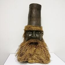 Human head sculpture carved vintage bamboo old man beard root wooden home decor