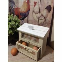 Country Cream Shabby Chic Wooden Egg House Storage Holder Kitchen Home Gift