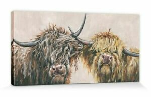 Louise brown Canvas wall art - Nosey cows - 50 x 100 x 4 cm
