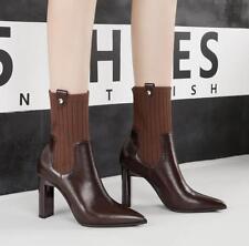 Women Winter Elegant Pointed Toe Chunky High Heel Sock Elastic Ankle Boots