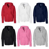 New GILDAN Womens Ladies Heavy Full Zip Up Hoodie Sweatshirt in 6 Colours S-XXL