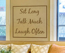 Wall Decal Quote Sticker Vinyl Art Lettering Sit Long Talk Much Laugh Often IN06