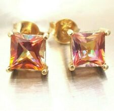 Genuine Natural Azotic Ecstasy Mystic Topaz 14K Yellow Solid Gold Stud Earrings