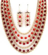 Seven Layers Multi Red Faceted Lucite Bead Gold Tone Link Necklace Earring Set