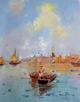 Bord de mer 30 x 41cm étiré peinture huile toile art décoration murale mod116