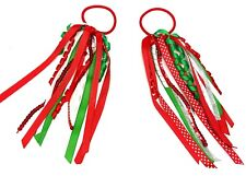 2 x Girls Christmas Hair Ribbons Spiral Bobbles Elastics Hair Accessories Sequin