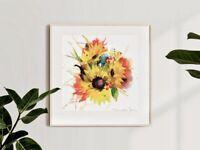 Original Art Contemporary Watercolour Painting of Sun Flowers Signed 20x20cm
