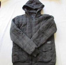 O'NEILL womens Lrg dark gray plaid super fleece warm zip jacket FAB