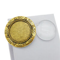 2pcs Antique Gold Blank Round Bezel Glass Dome Cover Brooch Pins DIY Accessories