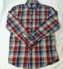 Saddlebred Born Southern Plaid Cowboy M Long Sleeve Button Front Red Blue