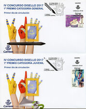 Spain 2018 FDC Disello Stamp Design Contest 2v Set on 2 Covers Monkeys Stamps