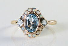 DAINTY 9K 9CT ROSE GOLD SKY BLUE TOPAZ OPAL ART DECO INS CLUSTER RING FREE SIZE