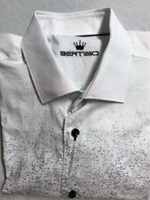 Bertigo White/Blue Splatter Print 100% Cotton Long Sleeve Button Front Shirt XL