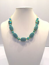 Handmade Tie-Dye and Beads Necklace. 17 Inches