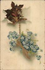 Terrier Dog w/ Gold Slipper on Chain c1910 Postcard
