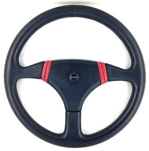 Genuine Momo Fiat Uno Turbo black and red leather steering wheel. RARE!  7A