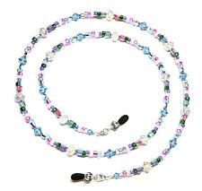 Aquamarine Austria Crystal & Czech Confetti Bead Mix Eyeglass Chain