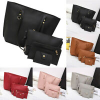 4Pcs Women's Litchi Pattern Leather Shoulder Bag+Crossbody Bag+Handbag+Wallet