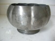 large vintage heavy pewter bowl  on pedestal by Rice 639 Stunning