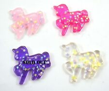4 PC Glitter Unicorns Stars Plastic Kawaii Decoden Kitsch Flatbacks Cabochons