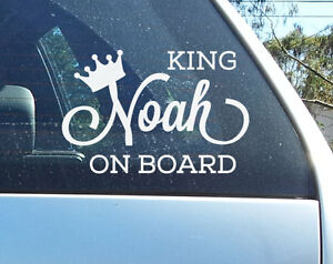 Custom Baby on Board Sign Sticker King Queen Car window Decal Personalised Gift