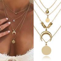 Multilayer Choker Horn Long Crescent Moon Pendant Necklace Chain Jewelry Women X