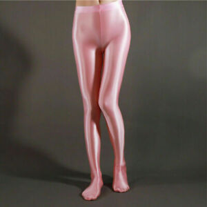 Women's Plus Size Wet Look Shiny Pantyhose Satin Glossy Stockings Fitness Tights