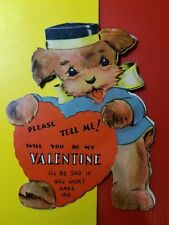 Vintage 1940-50's Valentine Card - Dog Dressed as a Bell Hop - Will Be Mine