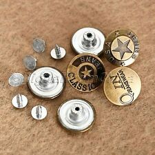 50Pcs Antique Bronze Jeans Tack Buttons Clothes Metal Snap Random Pattern 20mm