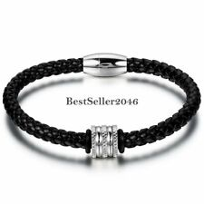 Braided Leather Cuff Bangle Bracelet Mens Womens Stainless Steel Magnetic Clasp