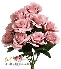 12 Mauve Dusty Pink Open Roses Artificial Flowers Fake Faux Silk Wedding Shabby