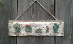 Boho room Decor Home Cactus print wall art Succulent wood Handmade Decoupage