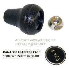 Jeep Dana 300 Shift Knob, Lock Nut & Shift Pattern Insert 1980-86 CJ CJ5 CJ7 CJ8